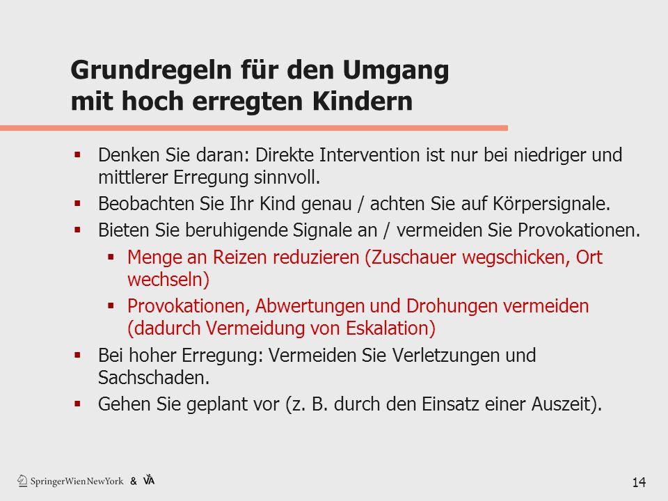14 Grundregeln für den Umgang mit hoch erregten Kindern  Denken Sie daran: Direkte Intervention ist nur bei niedriger und mittlerer Erregung sinnvoll.
