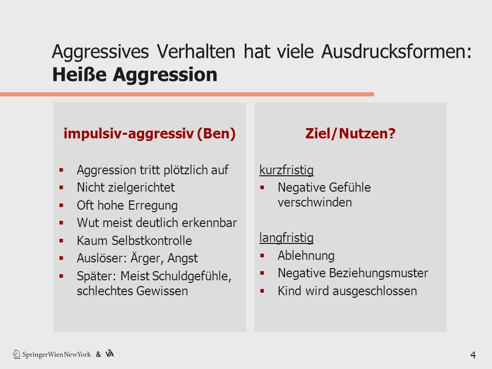 4 Aggressives Verhalten hat viele Ausdrucksformen: Heiße Aggression impulsiv-aggressiv (Ben)  Aggression tritt plötzlich auf  Nicht zielgerichtet 