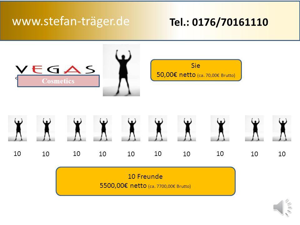 www.stefan-träger.de 100,00 UP 3% 250,00 UP 6% 500,00 UP 9% 750,00 UP 11% 1.000,00 UP 14% 2.000,00 UP 17% 4.000,00 UP 19% 6.000,00 UP 21% 8.000,00 UP 23% 10.000,00 UP 25% Eigenumsatz 50,00 € 9% 4,50 € 10 Freunde 500,00 € 0% 45,00 € Auszahlung 49,50 € Gruppen Umsatz 550 € Tel.: 0176/70161110