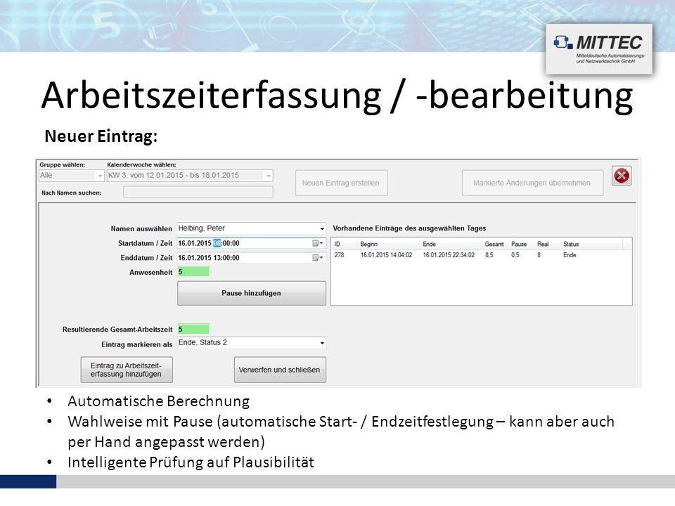 Automatische Berechnung Wahlweise mit Pause (automatische Start- / Endzeitfestlegung – kann aber auch per Hand angepasst werden) Intelligente Prüfung