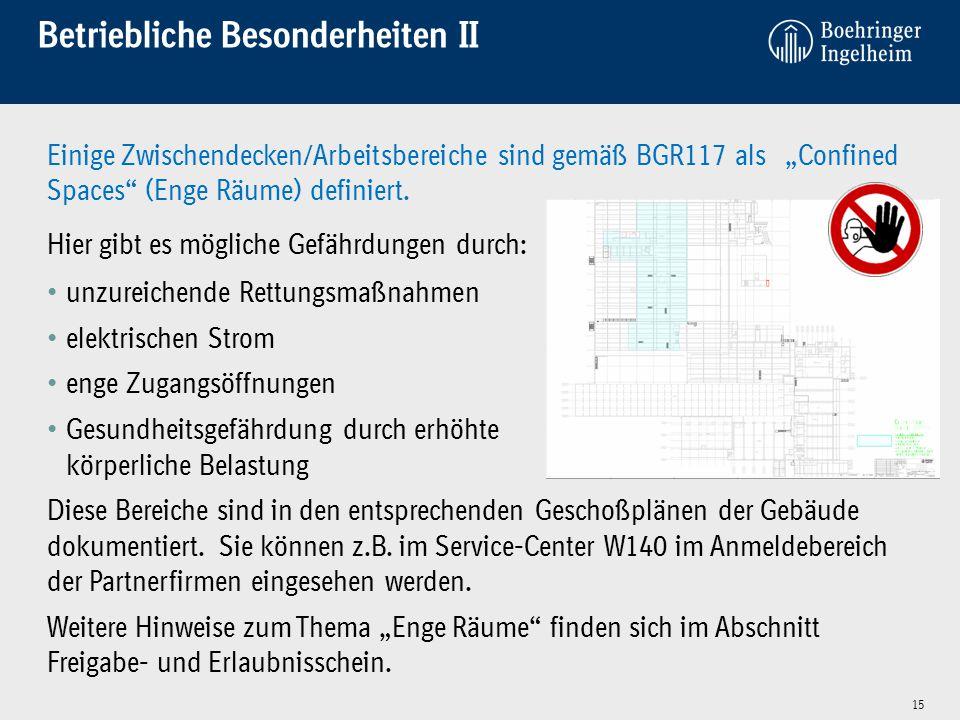 """15 Einige Zwischendecken/Arbeitsbereiche sind gemäß BGR117 als """"Confined Spaces"""" (Enge Räume) definiert. Hier gibt es mögliche Gefährdungen durch: unz"""