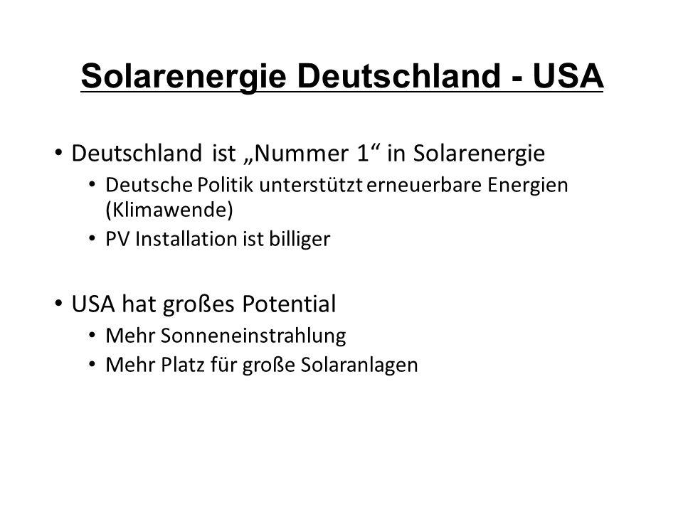 """Solarenergie Deutschland - USA Deutschland ist """"Nummer 1"""" in Solarenergie Deutsche Politik unterstützt erneuerbare Energien (Klimawende) PV Installati"""