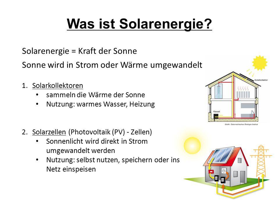 Solarenergie = Kraft der Sonne Sonne wird in Strom oder Wärme umgewandelt Was ist Solarenergie? 1.Solarkollektoren sammeln die Wärme der Sonne Nutzung