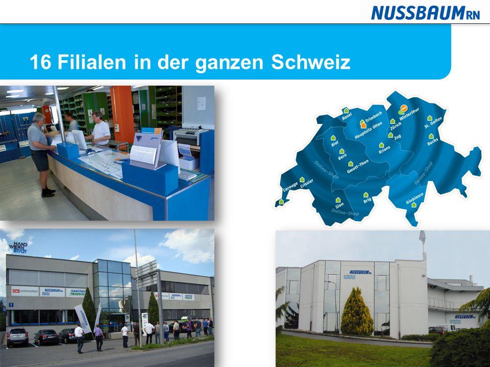 16 Filialen in der ganzen Schweiz