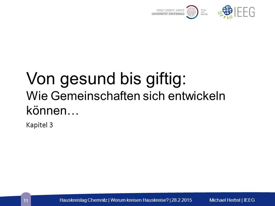 Von gesund bis giftig: Wie Gemeinschaften sich entwickeln können… Kapitel 3 Michael Herbst | IEEGHauskreistag Chemnitz | Worum kreisen Hauskreise? | 2