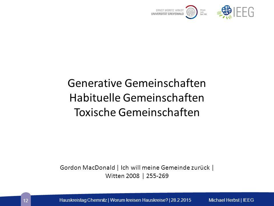 Generative Gemeinschaften Habituelle Gemeinschaften Toxische Gemeinschaften Gordon MacDonald | Ich will meine Gemeinde zurück | Witten 2008 | 255-269 Michael Herbst | IEEGHauskreistag Chemnitz | Worum kreisen Hauskreise.