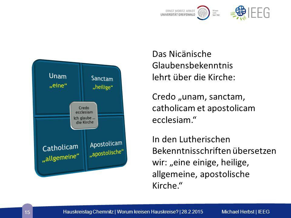 """Das Nicänische Glaubensbekenntnis lehrt über die Kirche: Credo """"unam, sanctam, catholicam et apostolicam ecclesiam."""" In den Lutherischen Bekenntnissch"""
