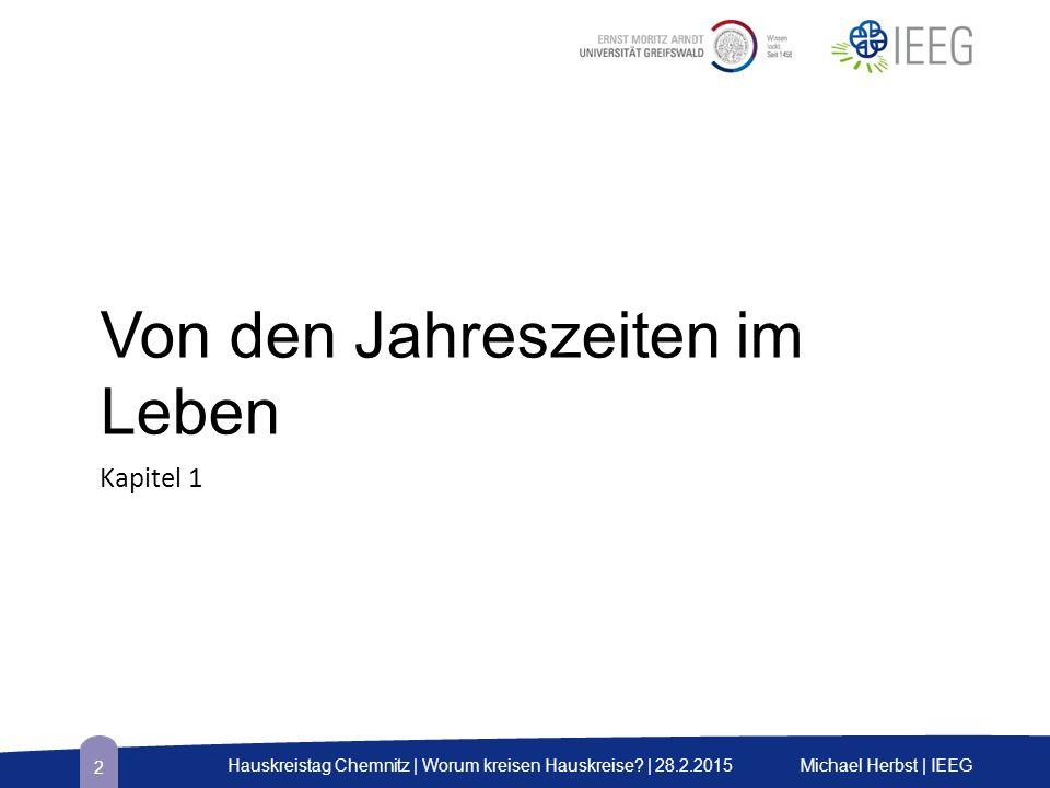Von den Jahreszeiten im Leben Kapitel 1 Michael Herbst | IEEGHauskreistag Chemnitz | Worum kreisen Hauskreise? | 28.2.2015 2