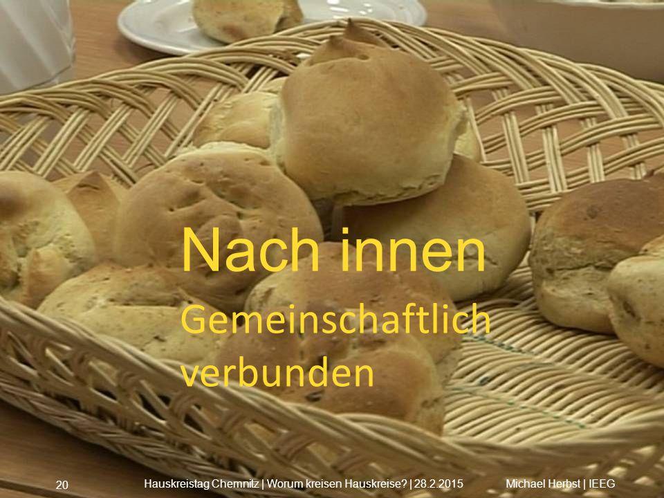Nach innen Gemeinschaftlich verbunden Michael Herbst | IEEGHauskreistag Chemnitz | Worum kreisen Hauskreise? | 28.2.2015 20