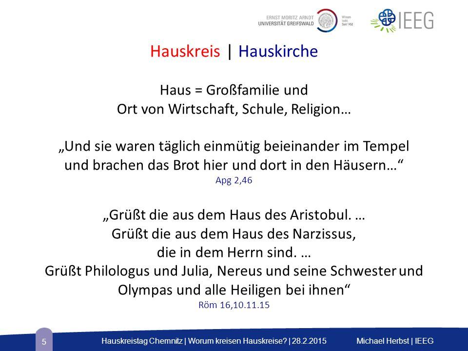 Michael Herbst | IEEGHauskreistag Chemnitz | Worum kreisen Hauskreise.
