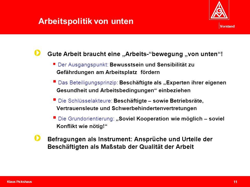 """Klaus Pickshaus Vorstand 11 Arbeitspolitik von unten Gute Arbeit braucht eine """"Arbeits-""""bewegung """"von unten""""!  Der Ausgangspunkt: Bewusstsein und Sen"""