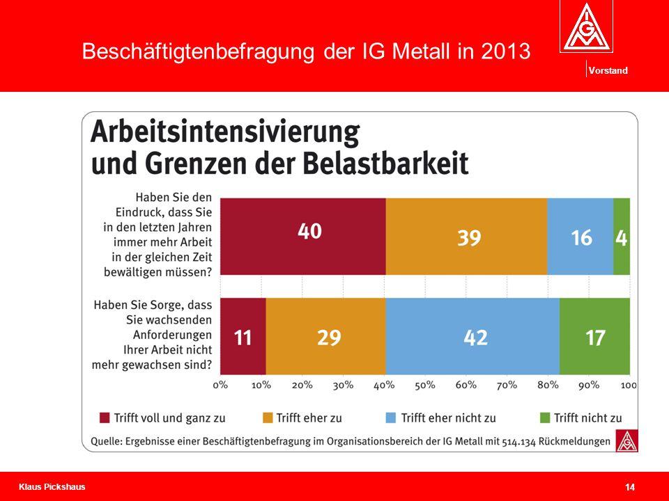 Klaus Pickshaus Vorstand 14 Beschäftigtenbefragung der IG Metall in 2013
