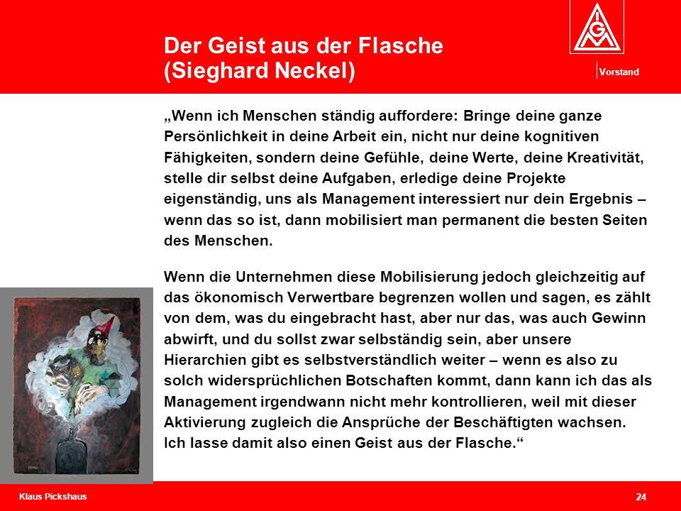 """Klaus Pickshaus Vorstand 24 Der Geist aus der Flasche (Sieghard Neckel) """"Wenn ich Menschen ständig auffordere: Bringe deine ganze Persönlichkeit in de"""