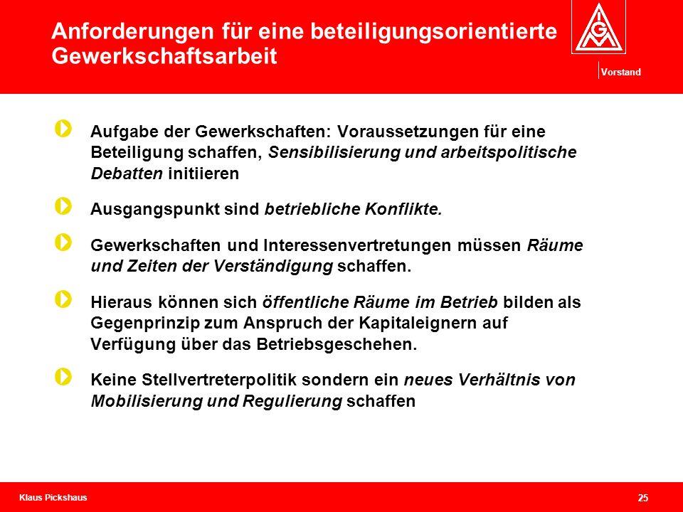 Klaus Pickshaus Vorstand 25 Anforderungen für eine beteiligungsorientierte Gewerkschaftsarbeit Aufgabe der Gewerkschaften: Voraussetzungen für eine Be