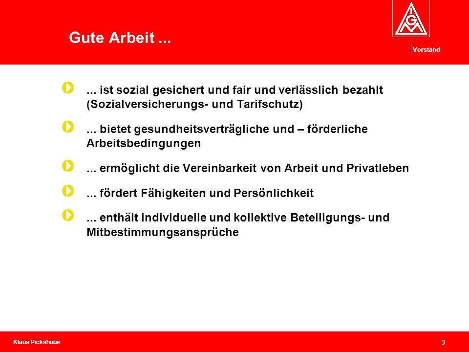 Klaus Pickshaus Vorstand 3 Gute Arbeit...... ist sozial gesichert und fair und verlässlich bezahlt (Sozialversicherungs- und Tarifschutz)... bietet ge