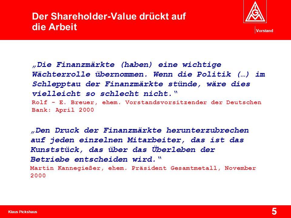 """Klaus Pickshaus Vorstand 5 5 Der Shareholder-Value drückt auf die Arbeit """"Den Druck der Finanzmärkte herunterzubrechen auf jeden einzelnen Mitarbeiter"""