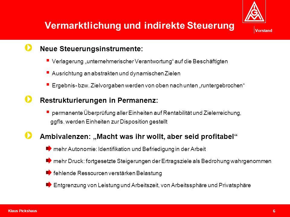 """Klaus Pickshaus Vorstand 6 Vermarktlichung und indirekte Steuerung Neue Steuerungsinstrumente:  Verlagerung """"unternehmerischer Verantwortung"""" auf die"""