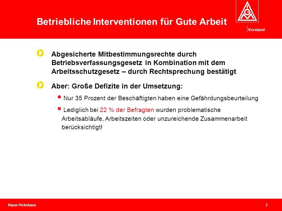 Klaus Pickshaus Vorstand 7 Betriebliche Interventionen für Gute Arbeit Abgesicherte Mitbestimmungsrechte durch Betriebsverfassungsgesetz in Kombinatio