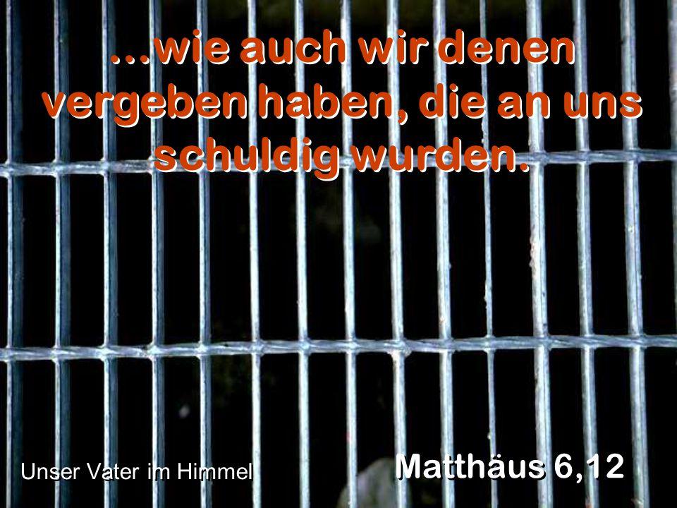 …wie auch wir denen vergeben haben, die an uns schuldig wurden. Matthäus 6,12 Unser Vater im Himmel