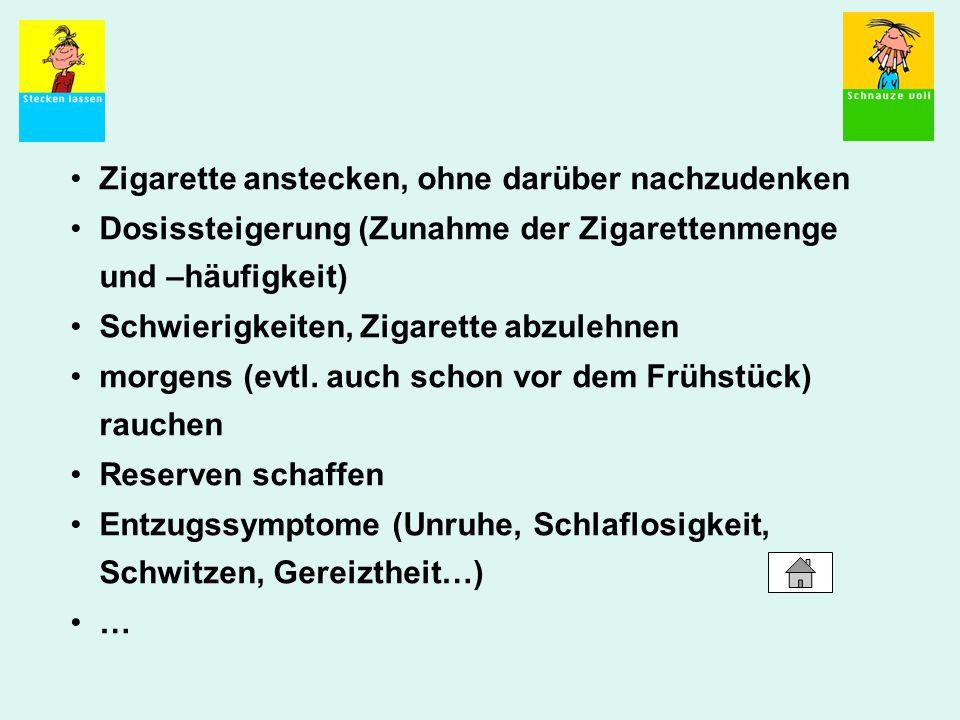 Zigarette anstecken, ohne darüber nachzudenken Dosissteigerung (Zunahme der Zigarettenmenge und –häufigkeit) Schwierigkeiten, Zigarette abzulehnen mor