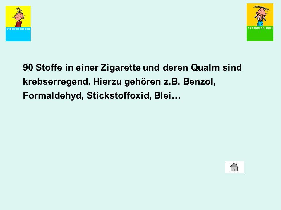 90 Stoffe in einer Zigarette und deren Qualm sind krebserregend. Hierzu gehören z.B. Benzol, Formaldehyd, Stickstoffoxid, Blei…