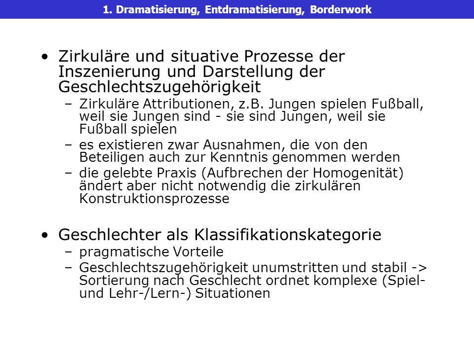 Zirkuläre und situative Prozesse der Inszenierung und Darstellung der Geschlechtszugehörigkeit –Zirkuläre Attributionen, z.B.