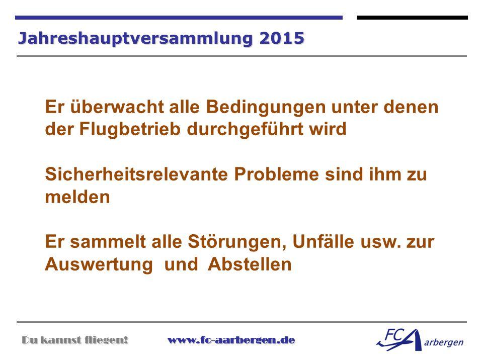 Du kannst fliegen!www.fc-aarbergen.de Du kannst fliegen! www.fc-aarbergen.de Jahreshauptversammlung 2015 Er überwacht alle Bedingungen unter denen der