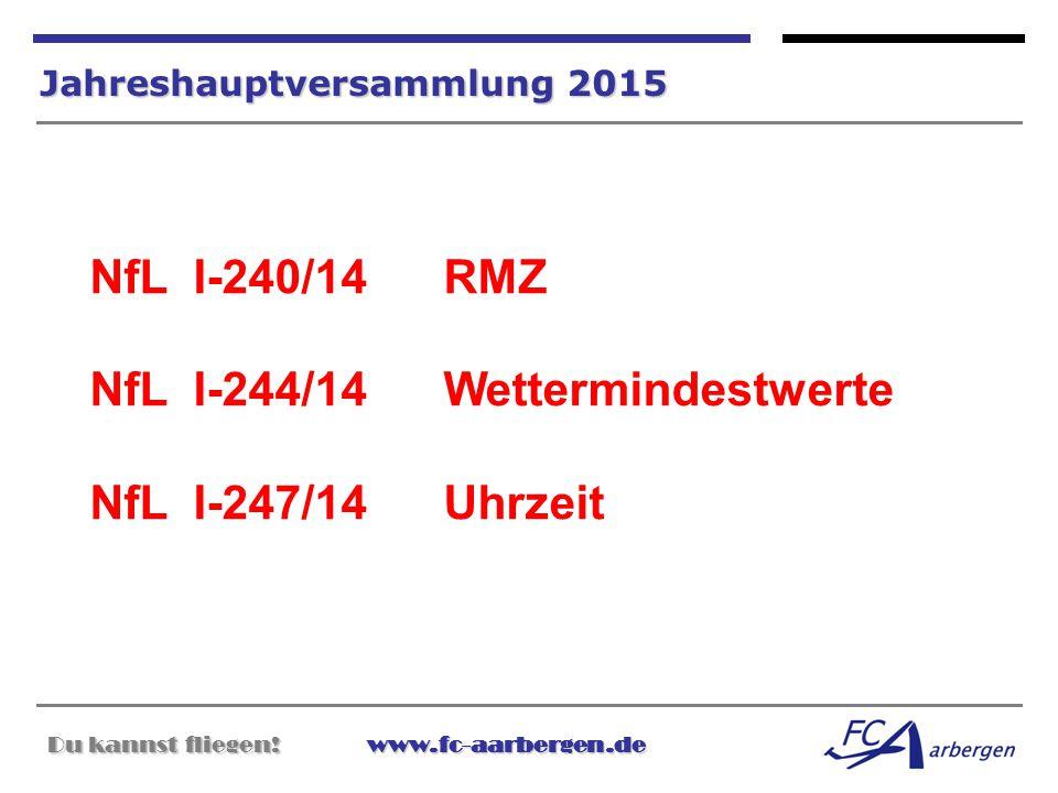 Du kannst fliegen!www.fc-aarbergen.de Du kannst fliegen! www.fc-aarbergen.de Jahreshauptversammlung 2015 NfL I-240/14 RMZ NfL I-244/14 Wettermindestwe