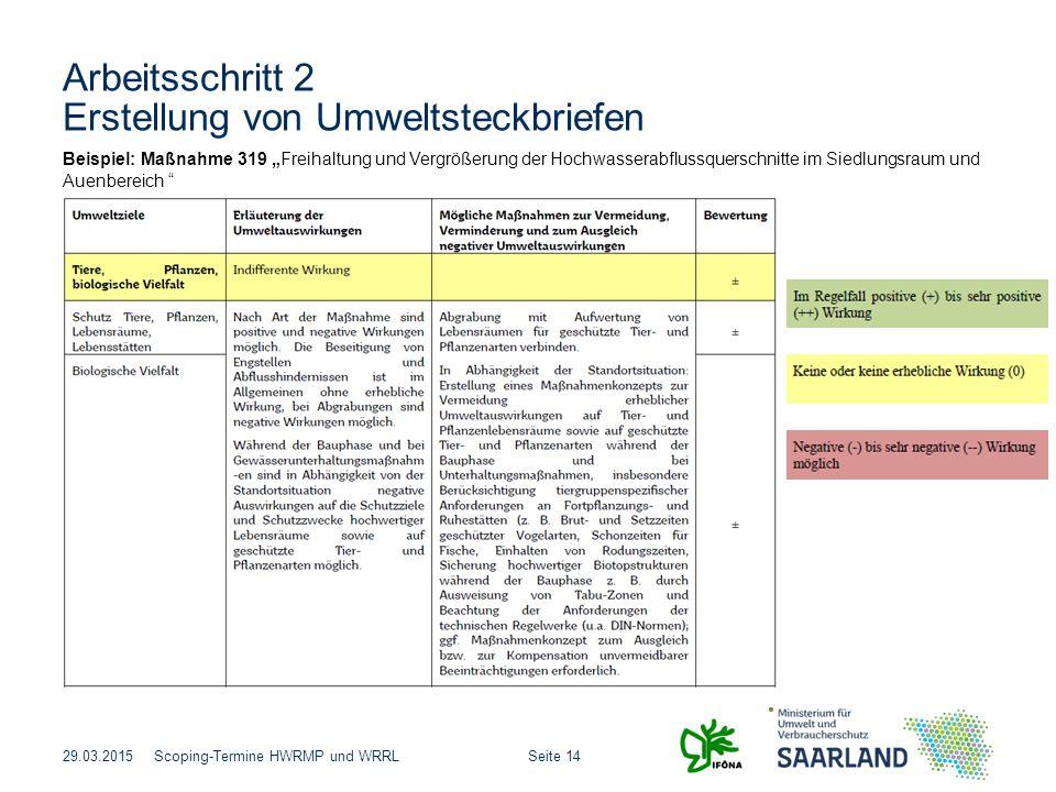 """Seite 14Scoping-Termine HWRMP und WRRL Arbeitsschritt 2 Erstellung von Umweltsteckbriefen 29.03.2015 Beispiel: Maßnahme 319 """"Freihaltung und Vergrößer"""