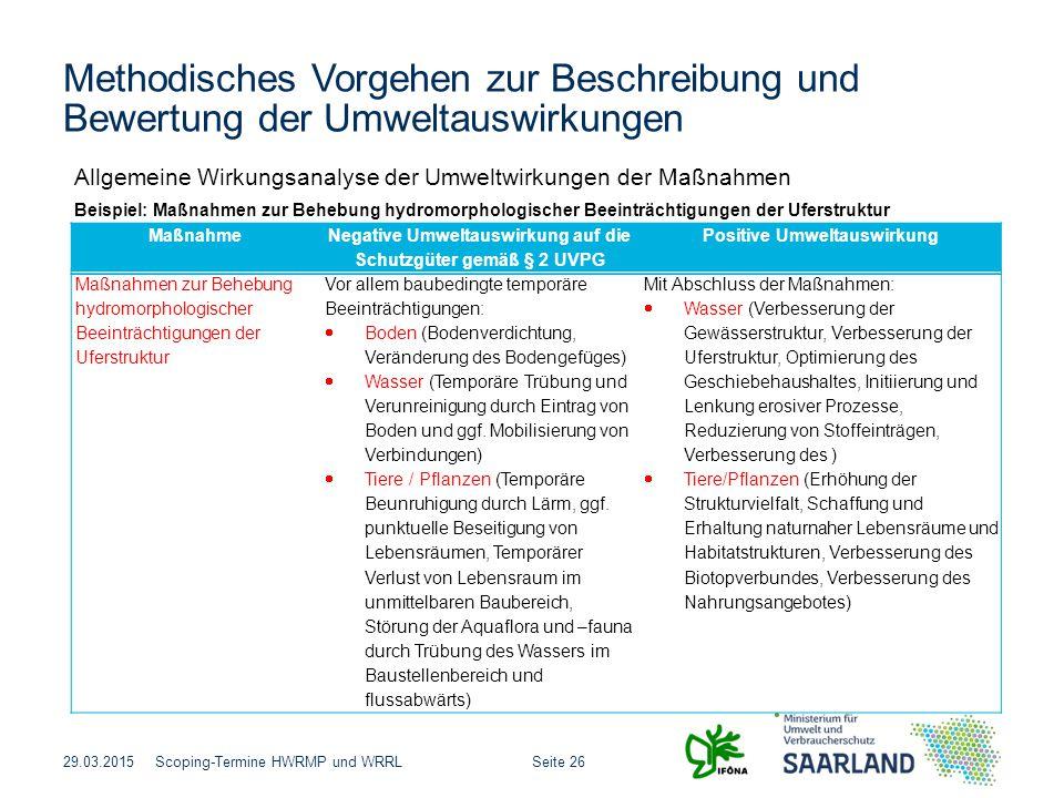 Seite 26Scoping-Termine HWRMP und WRRL Methodisches Vorgehen zur Beschreibung und Bewertung der Umweltauswirkungen 29.03.2015 Allgemeine Wirkungsanaly