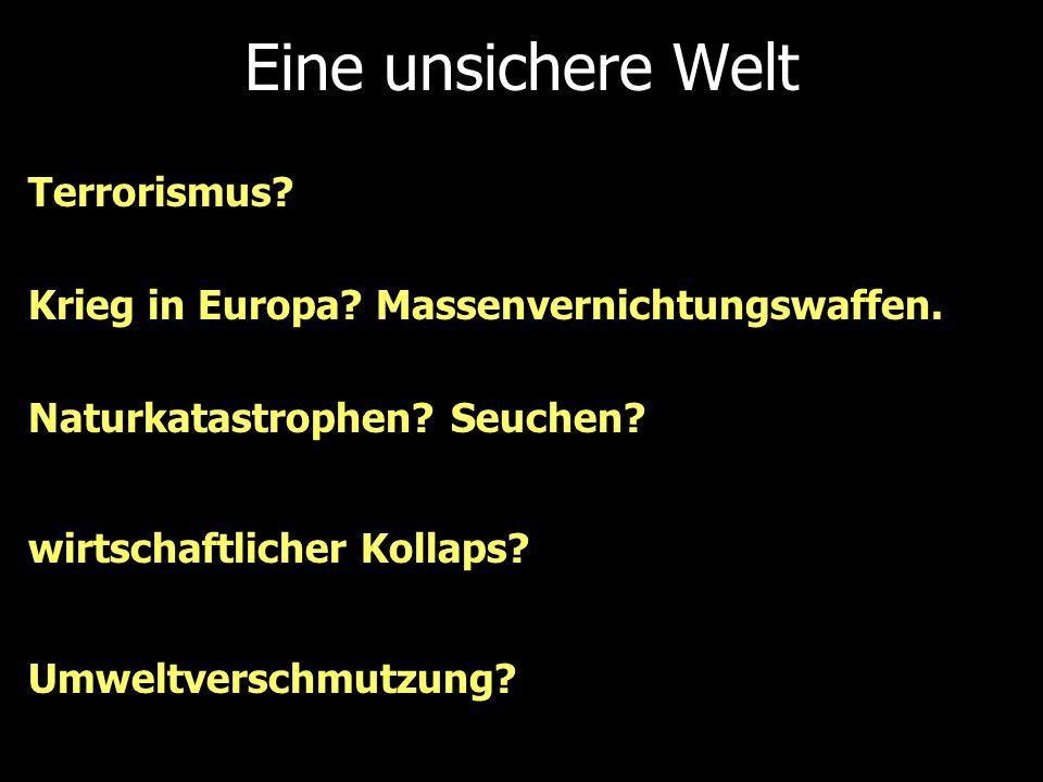 Eine unsichere Welt Terrorismus? Naturkatastrophen? Seuchen? Krieg in Europa? Massenvernichtungswaffen. wirtschaftlicher Kollaps? Umweltverschmutzung?