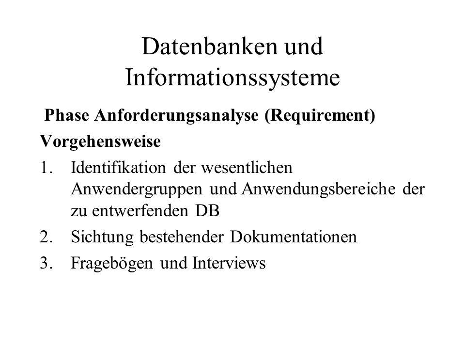 Datenbanken und Informationssysteme Phase Anforderungsanalyse (Requirement) Vorgehensweise 1.Identifikation der wesentlichen Anwendergruppen und Anwen