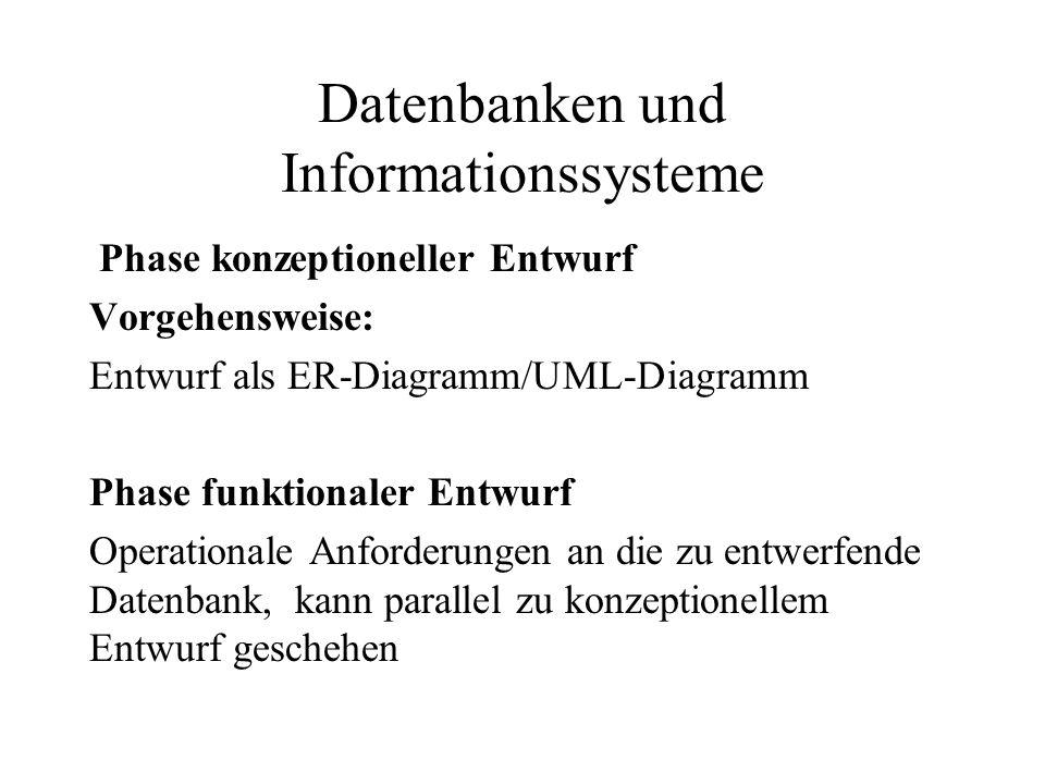 Datenbanken und Informationssysteme Phase konzeptioneller Entwurf Vorgehensweise: Entwurf als ER-Diagramm/UML-Diagramm Phase funktionaler Entwurf Oper