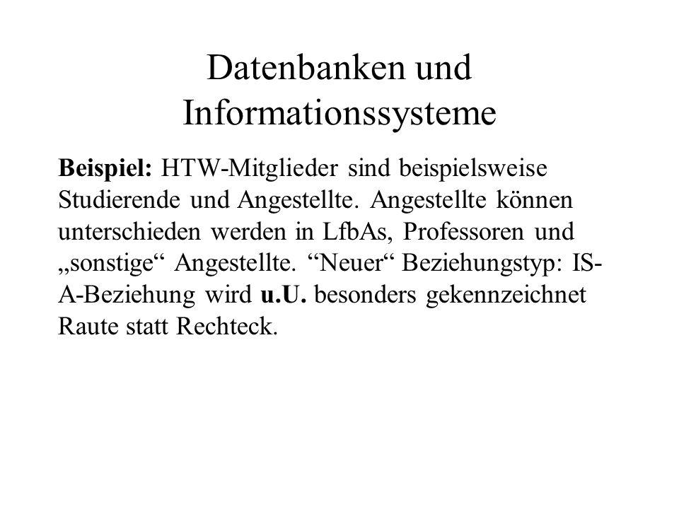 Datenbanken und Informationssysteme Beispiel: HTW-Mitglieder sind beispielsweise Studierende und Angestellte. Angestellte können unterschieden werden