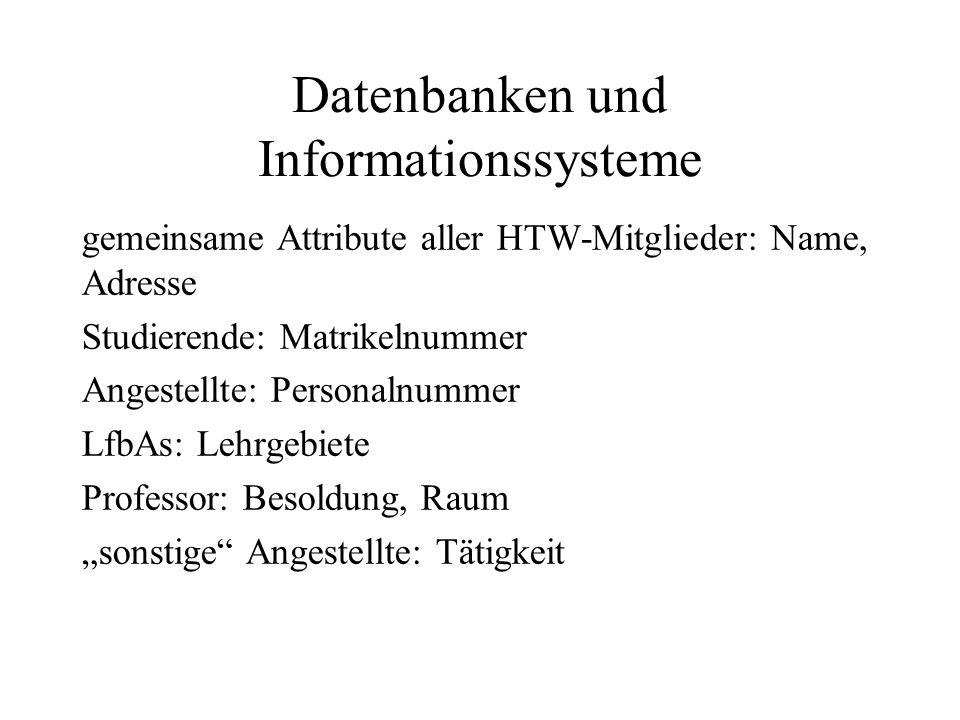gemeinsame Attribute aller HTW-Mitglieder: Name, Adresse Studierende: Matrikelnummer Angestellte: Personalnummer LfbAs: Lehrgebiete Professor: Besoldu