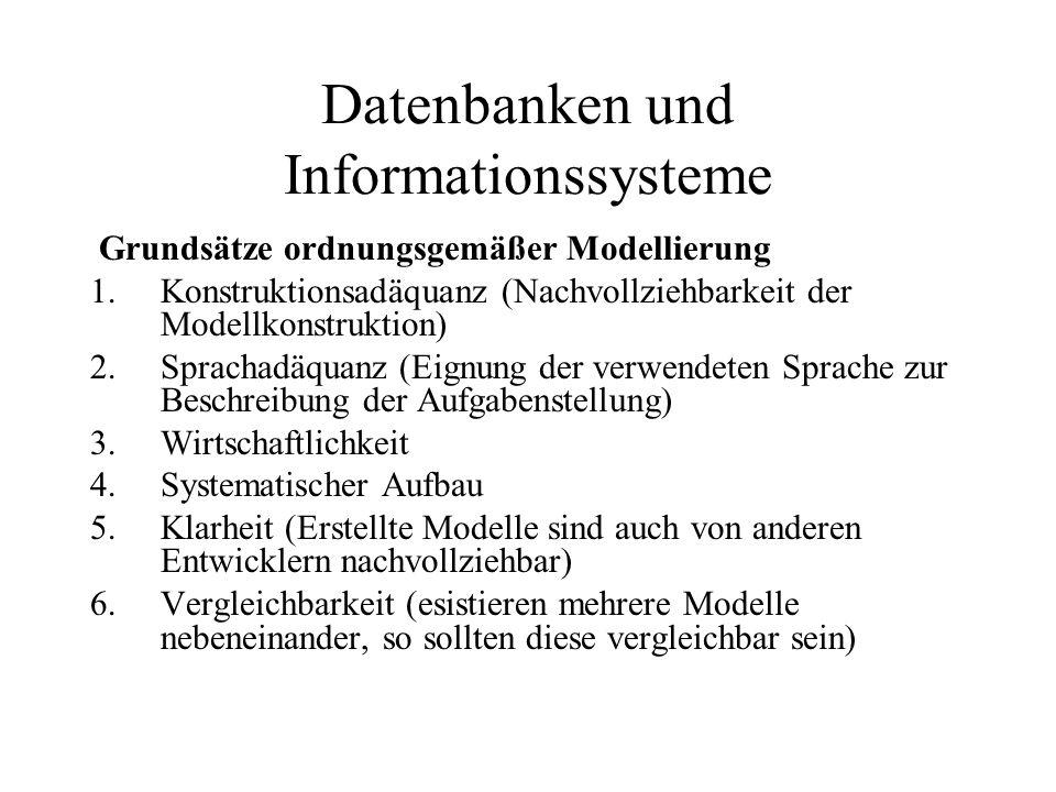 Datenbanken und Informationssysteme Grundsätze ordnungsgemäßer Modellierung 1.Konstruktionsadäquanz (Nachvollziehbarkeit der Modellkonstruktion) 2.Spr