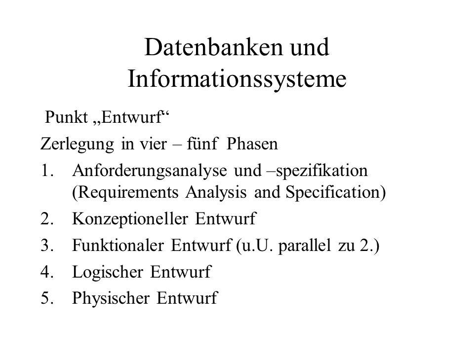 """Datenbanken und Informationssysteme Punkt """"Entwurf"""" Zerlegung in vier – fünf Phasen 1.Anforderungsanalyse und –spezifikation (Requirements Analysis an"""
