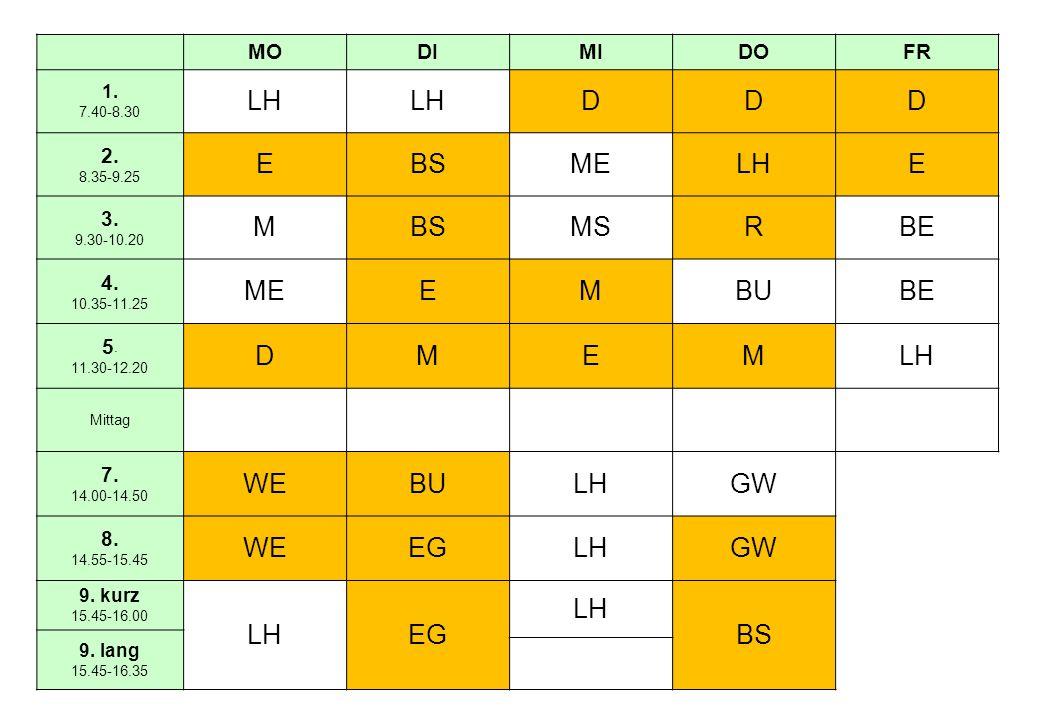 MODIMIDOFR 1. 7.40-8.30 LH DDD 2. 8.35-9.25 EBSMELHE 3.