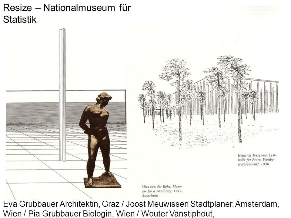Resize – Nationalmuseum für Statistik Eva Grubbauer Architektin, Graz / Joost Meuwissen Stadtplaner, Amsterdam, Wien / Pia Grubbauer Biologin, Wien /