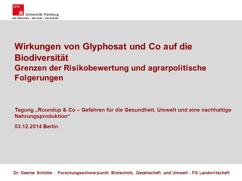 Name Herausforderungen einer nachhaltigen Landnutzung 17.10.2011 2 Forschungsschwerpunkt Biotechnik, Gesellschaft und Umwelt FG Landwirtschaft Gesine Schütte Ich habe die aktuelle Formatvorlage der Uni Hamburg herangezogen.
