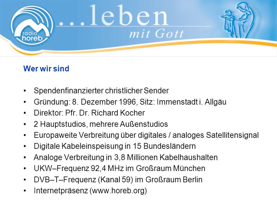 Kontaktaktadresse radio horeb Sitz: Kirchplatz 1, 87509 Immenstadt Postfach 1165, 87501 Immenstadt Telefon: +49 (0) 8323 9675-0 Ansprechpartner: Rüdiger Enders, Assistent des Vorstandes Telefon: +49 (0) 8323 9675-160 Fax: +49 (0) 8323 9675-165 E-Mail: ruediger.enders@radiohoreb.de
