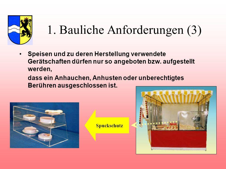 1. Bauliche Anforderungen (3) Speisen und zu deren Herstellung verwendete Gerätschaften dürfen nur so angeboten bzw. aufgestellt werden, dass ein Anha