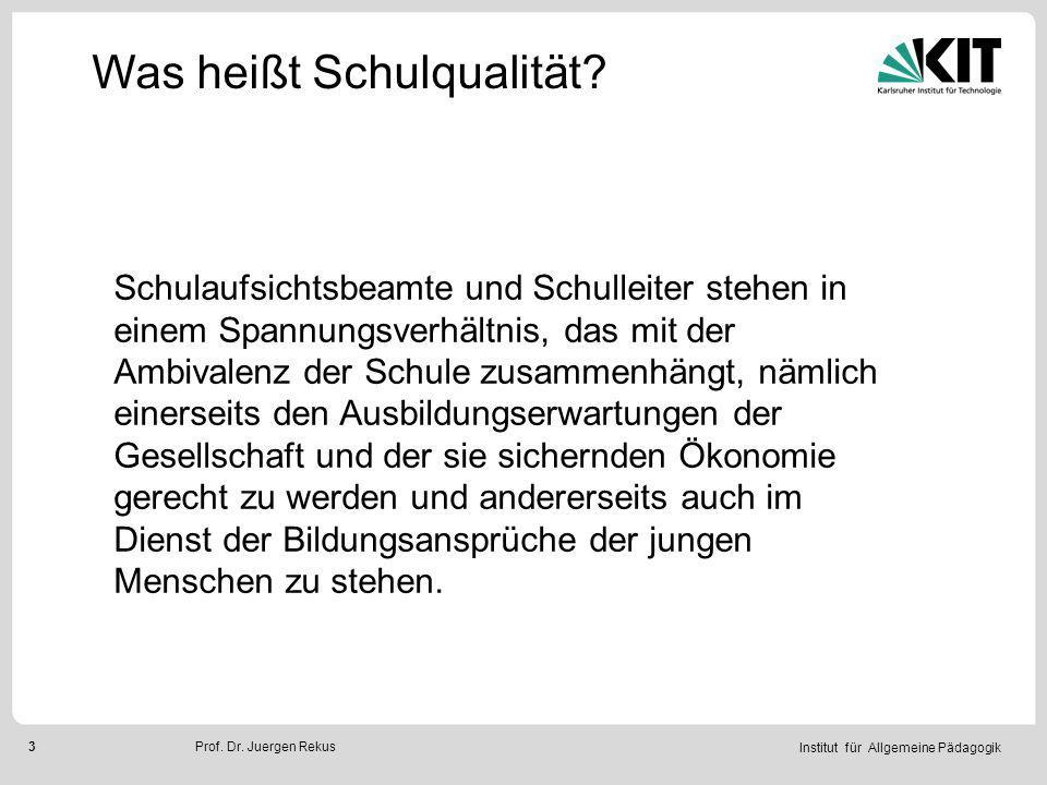 Institut für Allgemeine Pädagogik 14Prof.Dr. Juergen Rekus Was heißt Schulqualität.