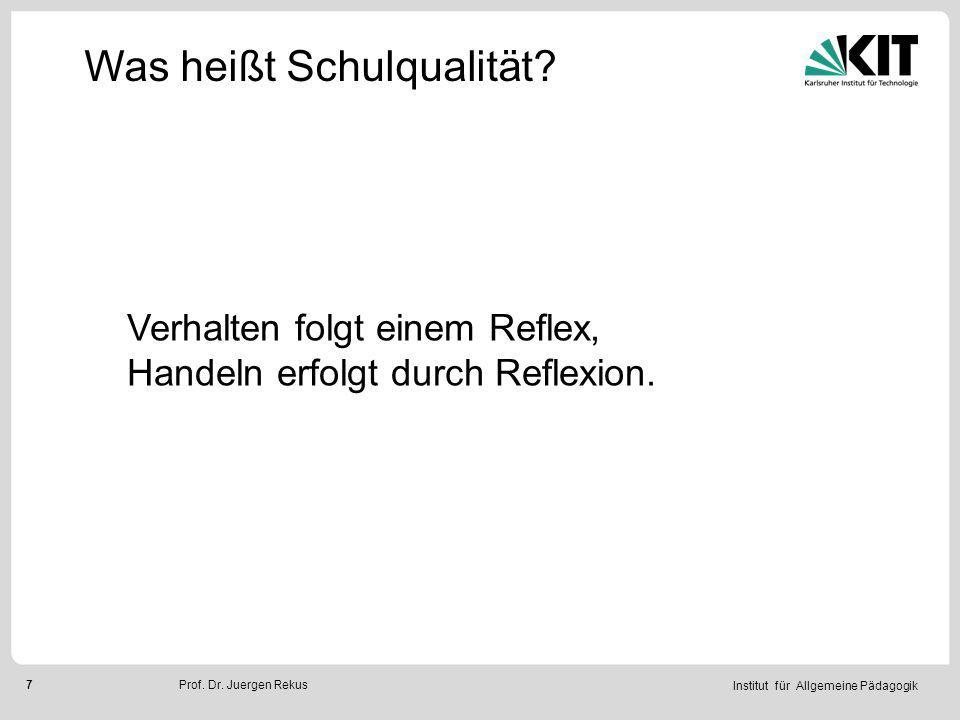 Institut für Allgemeine Pädagogik 8Prof.Dr. Juergen Rekus Was heißt Schulqualität.