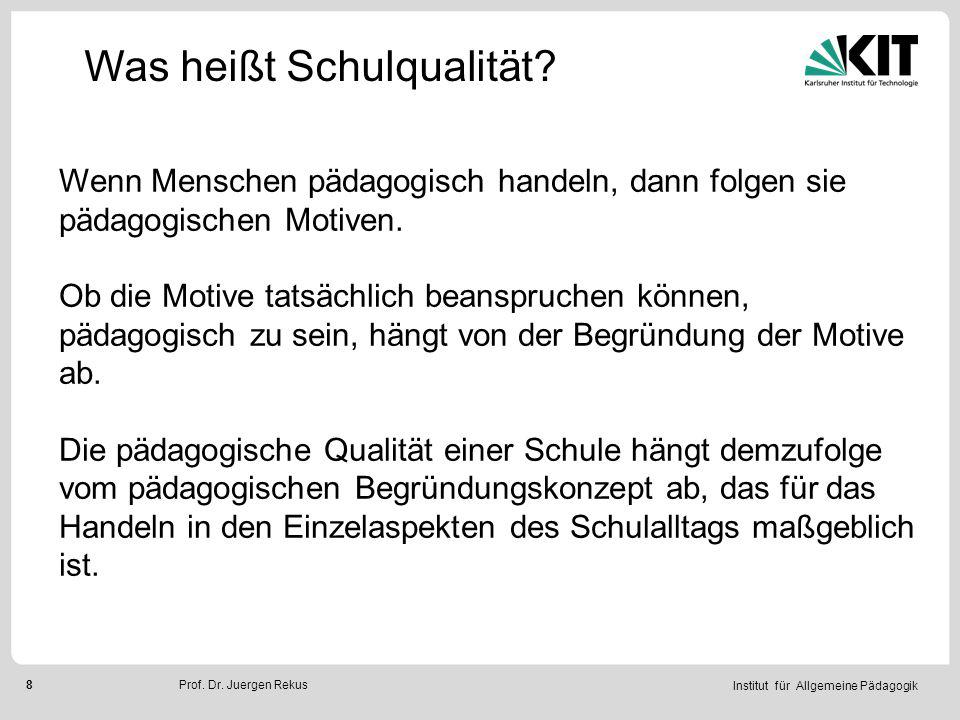 Institut für Allgemeine Pädagogik 9Prof.Dr. Juergen Rekus Was heißt Schulqualität.