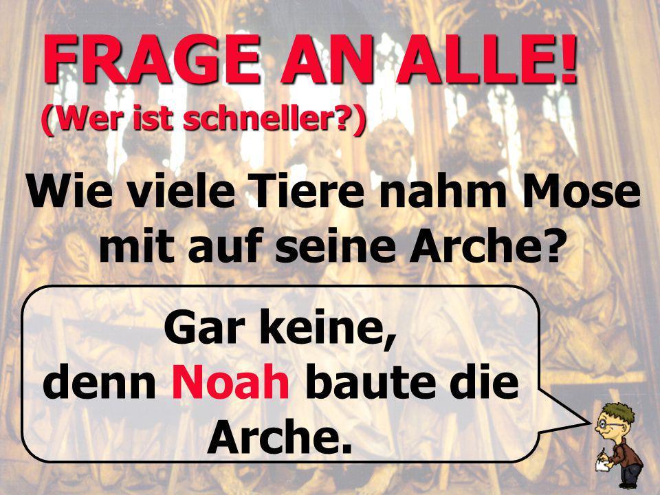 FRAGE AN ALLE! (Wer ist schneller?) Wie viele Tiere nahm Mose mit auf seine Arche? Gar keine, denn Noah baute die Arche.
