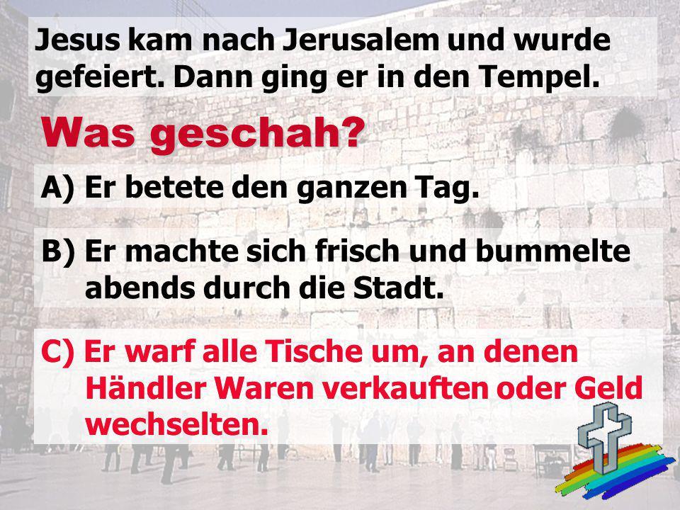 Was geschah? Jesus kam nach Jerusalem und wurde gefeiert. Dann ging er in den Tempel. A) Er betete den ganzen Tag. B) Er machte sich frisch und bummel