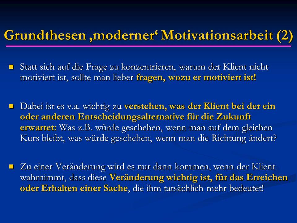 Grundthesen 'moderner' Motivationsarbeit (2) Statt sich auf die Frage zu konzentrieren, warum der Klient nicht motiviert ist, sollte man lieber fragen