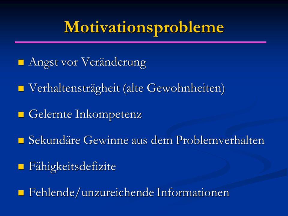 Motivationsprobleme Angst vor Veränderung Angst vor Veränderung Verhaltensträgheit (alte Gewohnheiten) Verhaltensträgheit (alte Gewohnheiten) Gelernte
