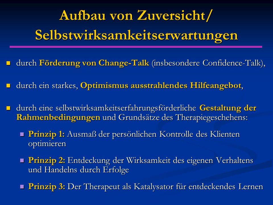 Aufbau von Zuversicht/ Selbstwirksamkeitserwartungen durch Förderung von Change-Talk (insbesondere Confidence-Talk), durch Förderung von Change-Talk (
